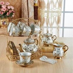 Britânico início-grade xícara de chá e pires conjunto europeu marfim cerâmica copos de café conjunto cerâmica avançada xícara de porcelana para presentes