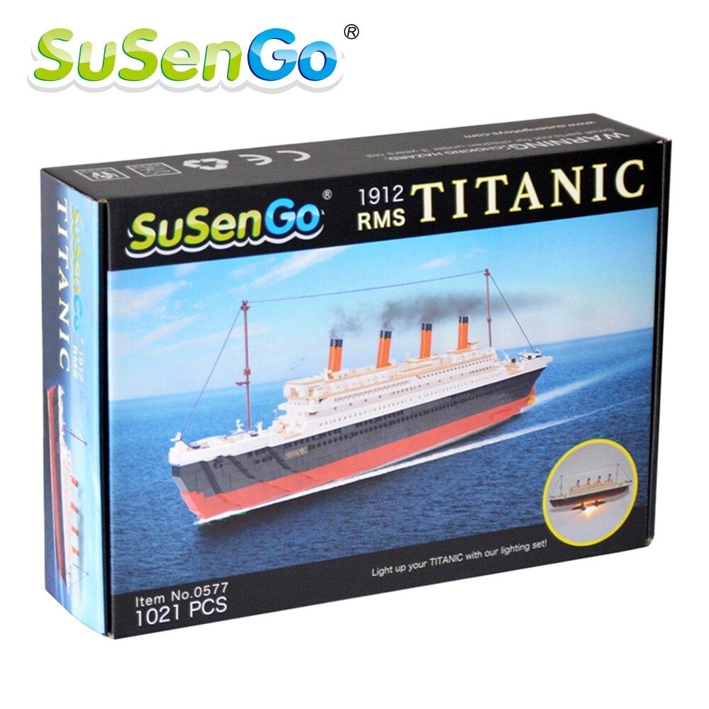 SuSenGo 1021 stücke Cruise RMS Titanic Schiff Boot 3D Modell Pädagogisches Bausteine Spielzeug Mit Led Licht Set
