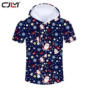 CJLM The New Listing Chistmas Men's Hooded Tshirt 3D Printed Lovely Santa Claus Man Tee Shirt Colored Harajuku Clothing