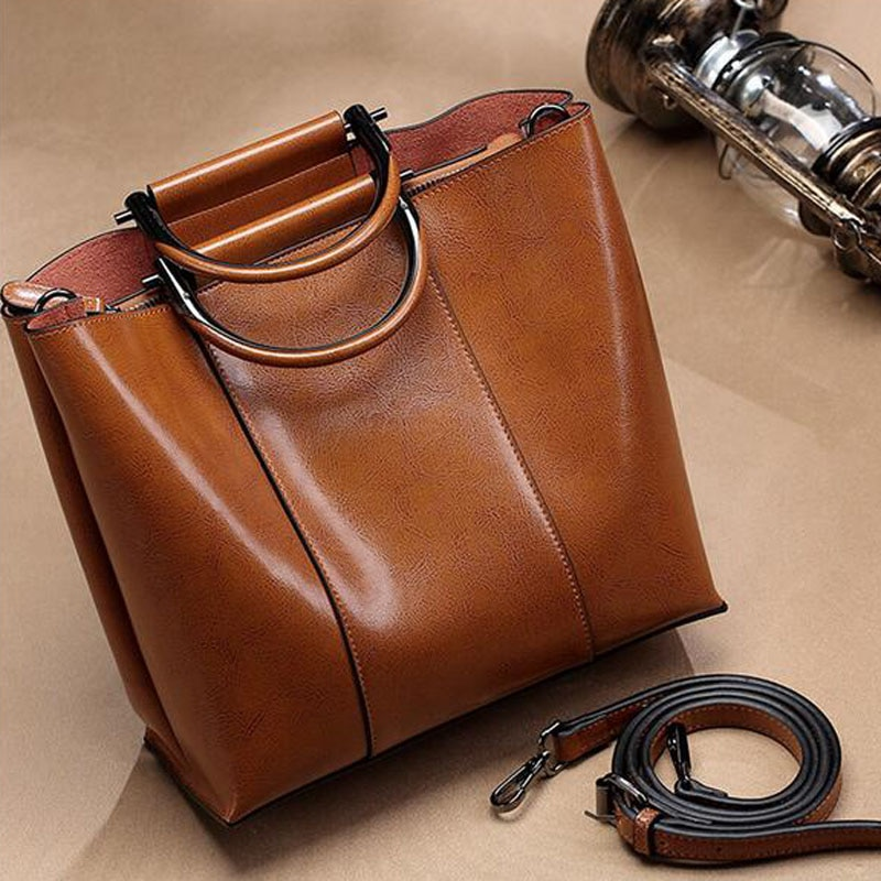 High Quality Oil Wax Cowhide Top Handle Bag Fashion Tote Handbag Female Crossbody Shoulder Messenger Bags Female Leather Bags