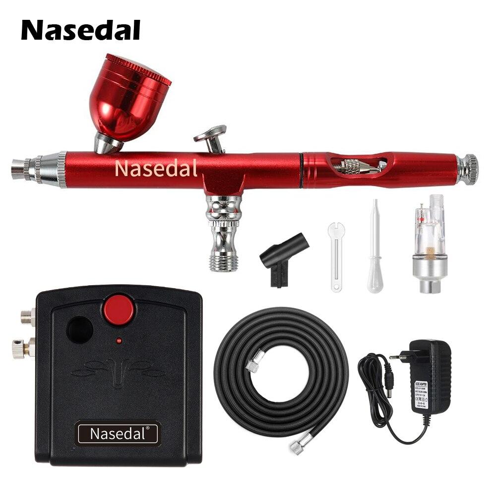 Nasedal mini Kit compresseur aérographe rouge 0.3mm double Action brosse à Air voiture ongle peinture pistolet gâteau décor maquillage tatouage peinture en aérosol