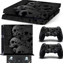 Calcomanía de calavera para Playstation 4, PS4, controladores de consola + 2 uds, gorras de calavera de silicona para el mando de PS4