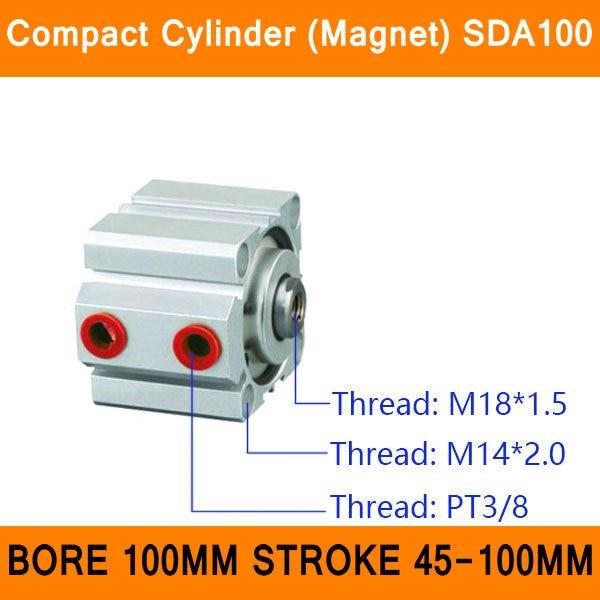 SDA100, цилиндрический магнит, компактный диаметр SDA серии 100 мм, ход 45-100 мм, компактные Воздушные цилиндры двойного действия