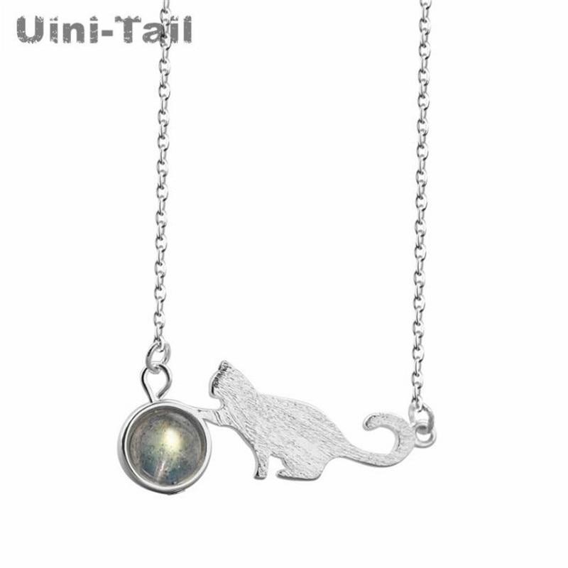 ¡Nuevo! Collar uini-tail de Plata de Ley 925 plateados felinos, collar de piedra lunar coreano sencillo para estudiante, cadena de clavícula dulce little fresh GN618