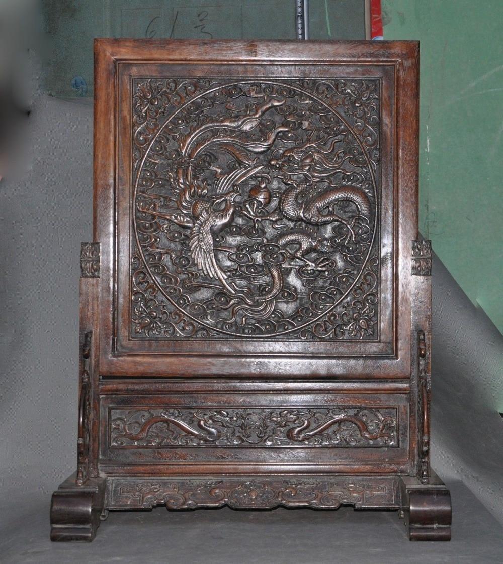Estatuillas chinas antiguas de madera de huanghuali talladas a mano dragón Fénix pantallas de halloween