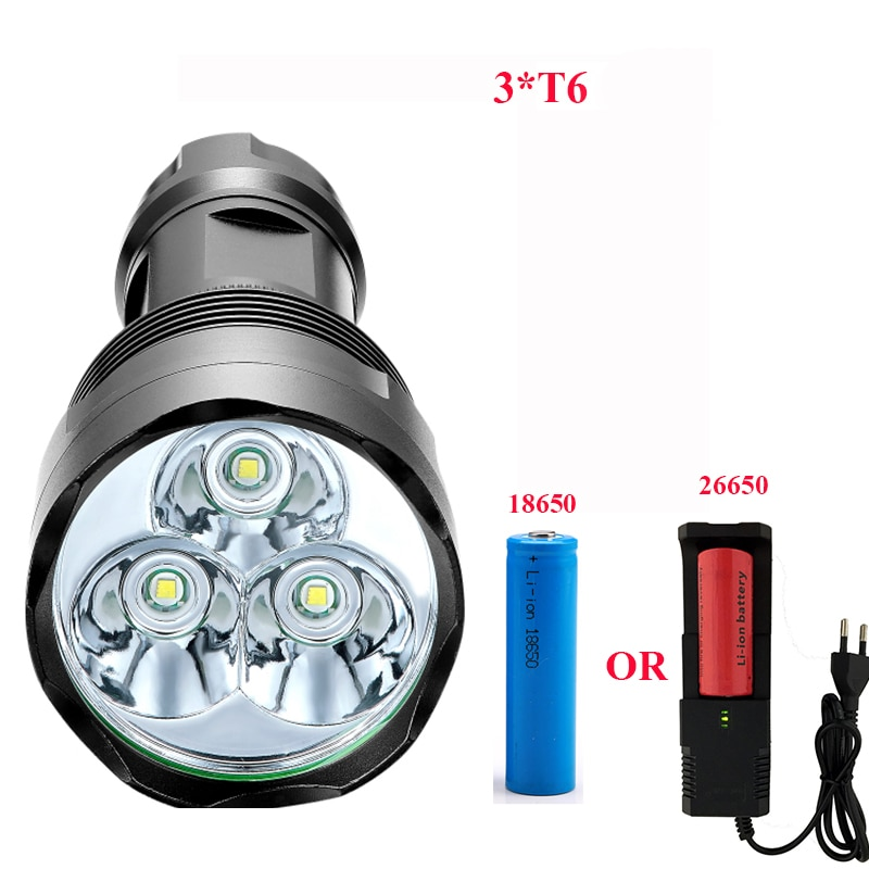 3800 Lumen High Power Taschenlampe 3 * T6 Leistungsstarke LED-Blitz licht with18650 oder 26650 taschenlampe lanterna camping reiten