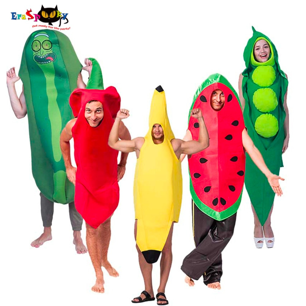 زي مرح للهالوين للبالغين ، تونك فاكهة ، تأثيري ، كرنفال ، حفلة ، مجموعة عائلية متطابقة ، زي الموز