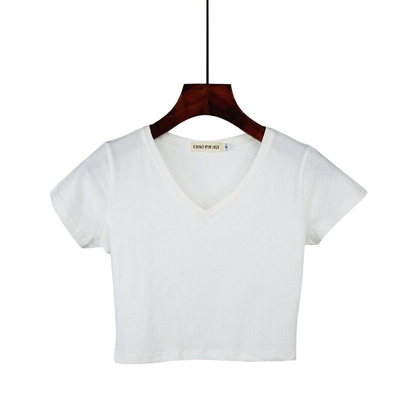 Женская футболка, белая, с коротким рукавом и треугольным вырезом, летняя, хлопковая, свободная, 7 видов цветов