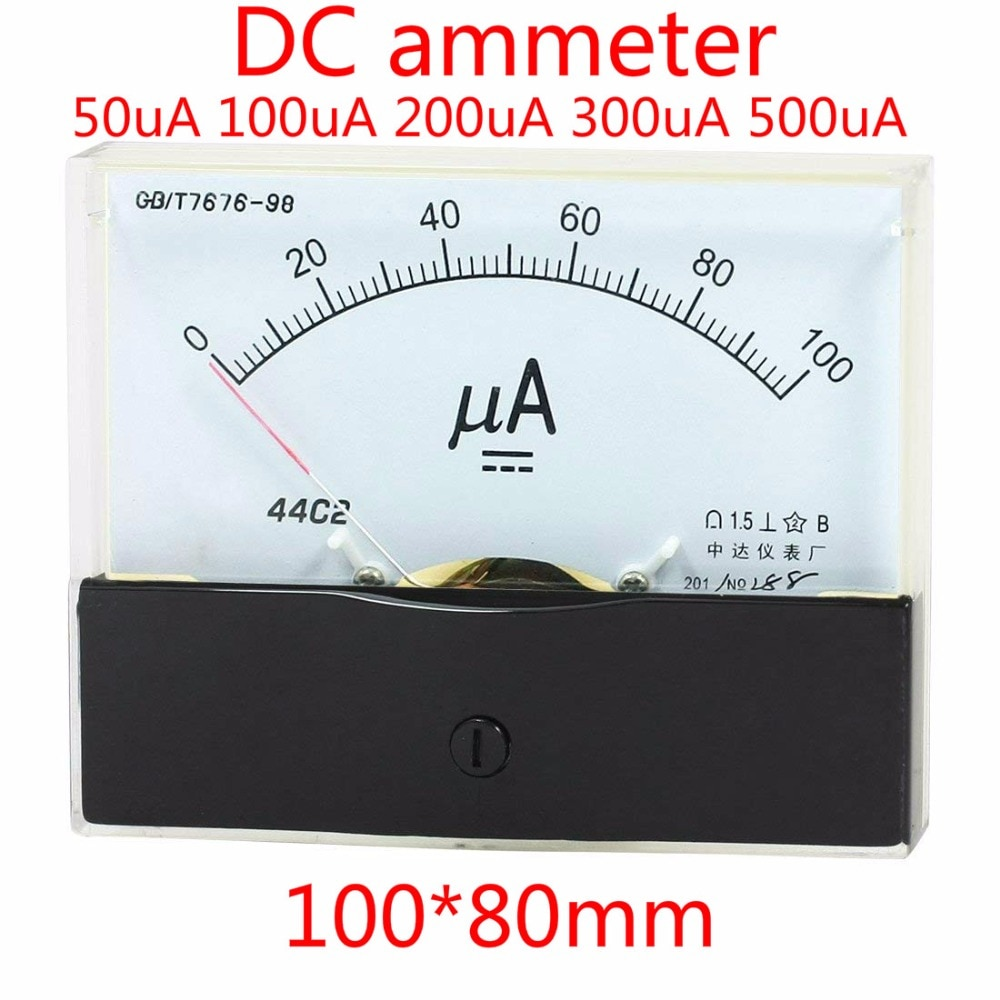 DC Amperímetro analógico AMP Panel medidor de corriente 0-100uA 50uA Medidor de amperios Amperimetro Ampermeter 44C2
