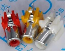 Douilles RCA 10 pièces/lot   2x trous, 2 broches, prises RCA 90 degrés, connecteurs Audio vidéo, prises jack, jaune blanc rouge
