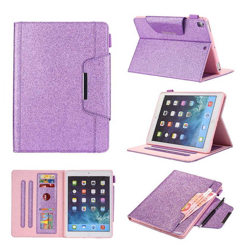 Funda para Apple iPad 9,7 2018 2017, funda para iPad Air 2 iPad Pro 9,7, Fundas con purpurina y imán, carcasa para Auto Sleep/Wake + Film + Pen