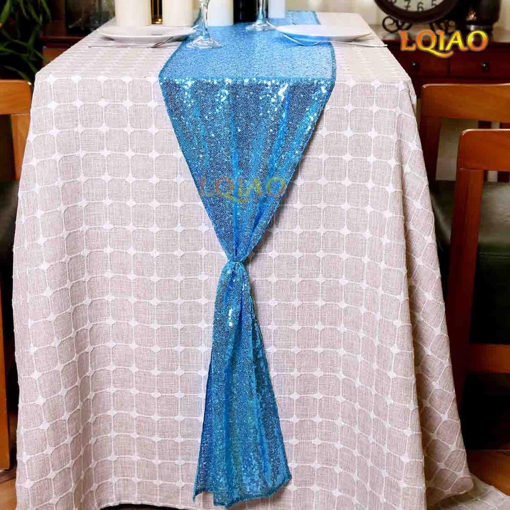LQIAO 12x108-pulgadas rectángulo-turquesa-Lentejuelas camino de mesa-para boda/fiesta/Decoration-30x275cm