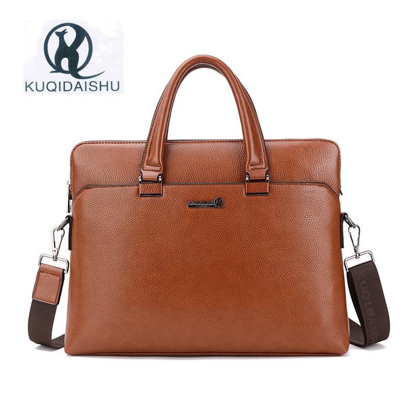 KUQIDAISHU Brand PU Leather Business Bag Fashion Man Bags Handbag Laptop Briefcase Messenger Bags Shoulder Bag Sacoche Homme