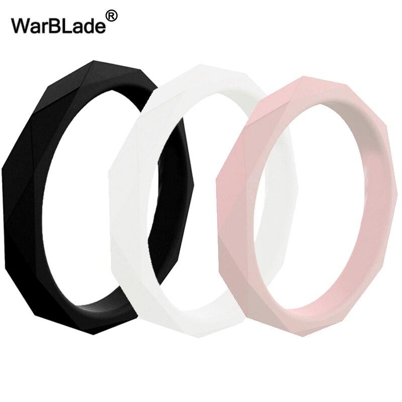 ¡Novedad de 2019! Anillos para Dedo de silicona a la moda con forma de diamante de 3mm para mujer, anillos de boda, anillo de goma Flexible hipoalergénico para Crossfit
