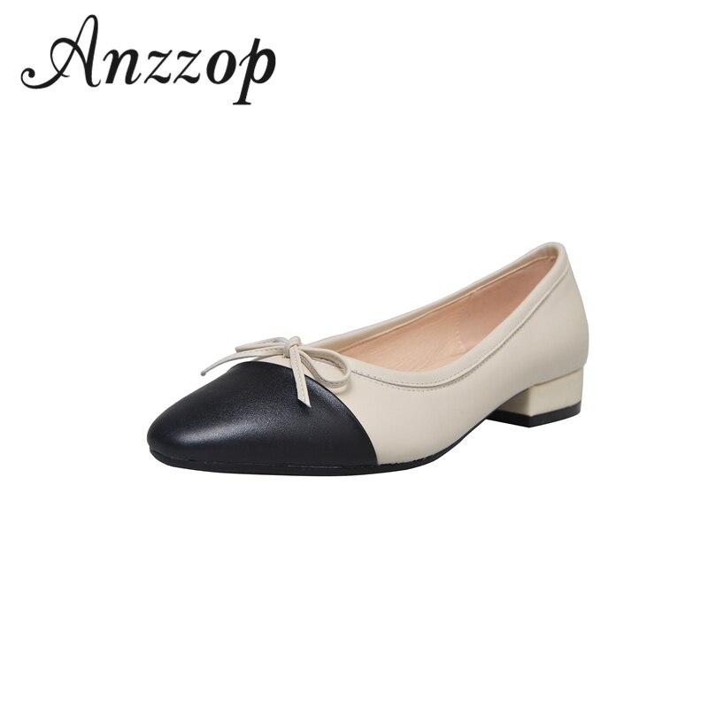 Zapatos de ballet informales de tacón bajo de piel femenina de alta calidad 2019 color a juego con arco cabeza redonda color a juego rebelde cómodo