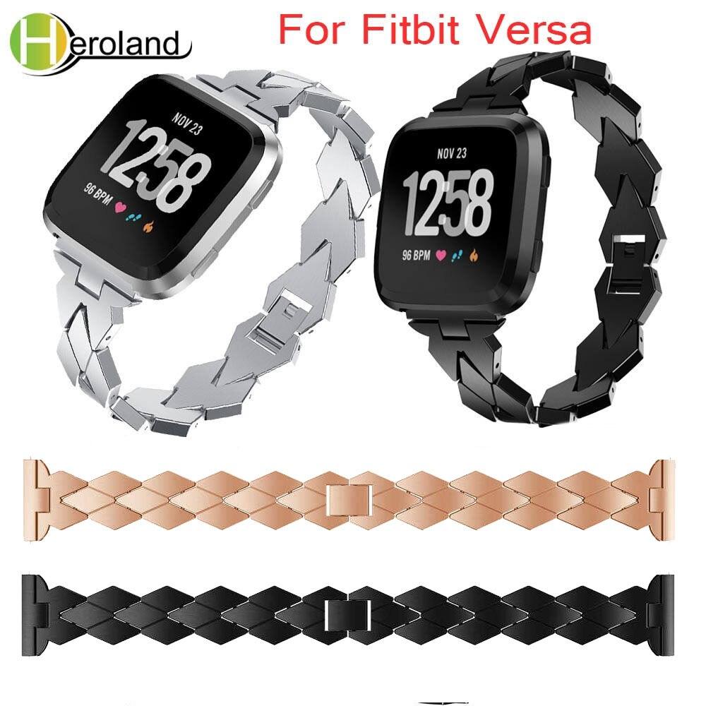 Accesorios de reloj de pulsera de aleación de acero correa de reloj para Fitbit Versa banda sin tornillos pulsera de repuesto de Metal para Fitbit Versa