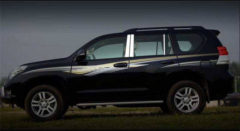 Para Toyota Prado FJ150 2010 2011 2012 2013 2014 2015 2016 Marco de ventana de coche de acero inoxidable pilares centrales B + C cubierta embellecedores