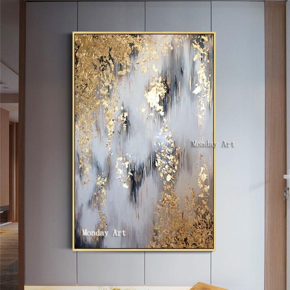 Pinturas al óleo abstractas modernas pintadas a mano, pinturas al óleo de Oro Abstracto, pintura al óleo para decoración del hogar, sala de estar, pinturas para pared