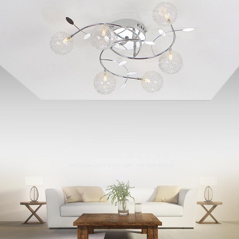 Lámpara tipo plafón de luz Led de techo de plata con personalidad creativa para el hogar, lámparas de habitación, lámpara de techo, lámparas de cocina