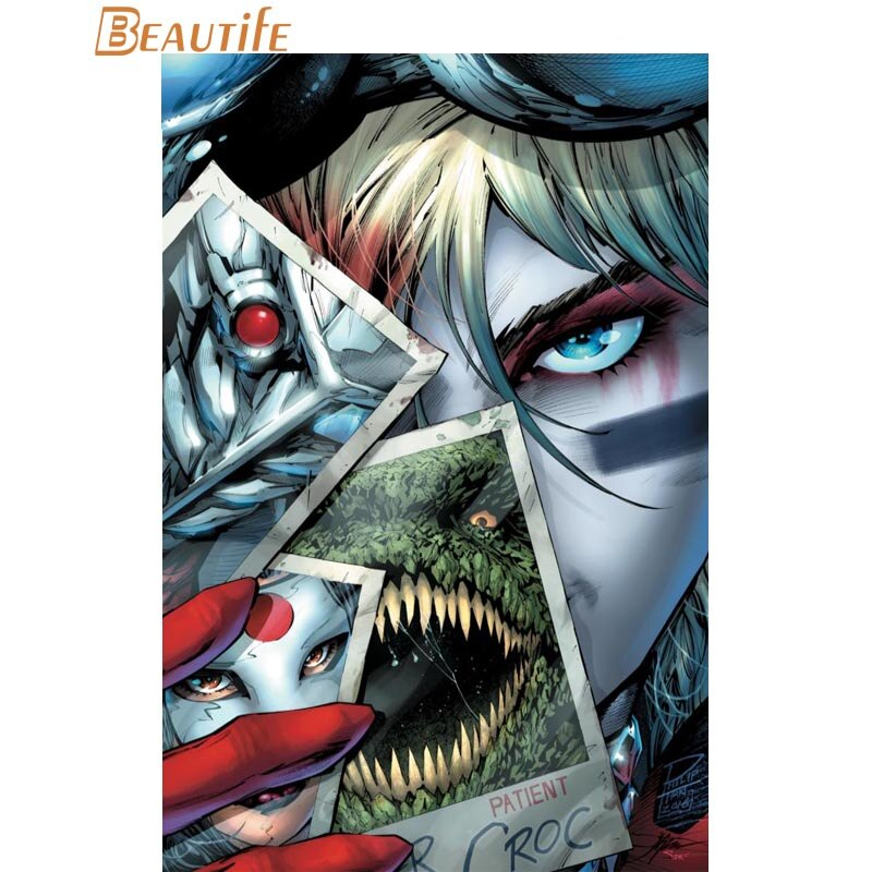 Póster de DC Comics de Harley Quinn, póster de tela de seda para decoración del hogar, póster artístico de tela impresa de 30x45cm,40x60cm, 50x75cm,60x90cm