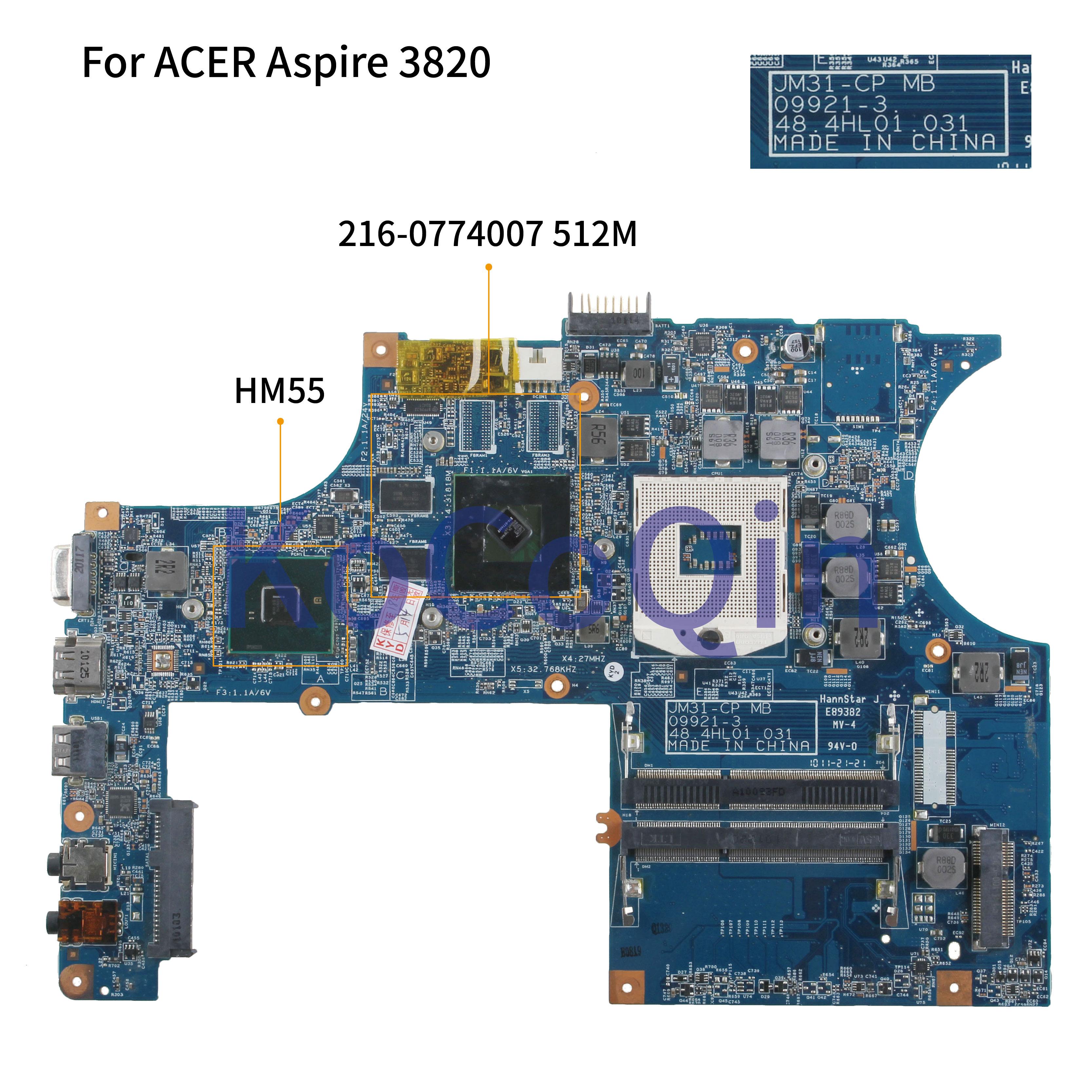 Laptop motherboard Para ACER Aspire 3820 3820TG KoCoQin JM31-CP Mainboard MB. PV001.001 09921-3 48.4HL01.031 216-0774007 HM55