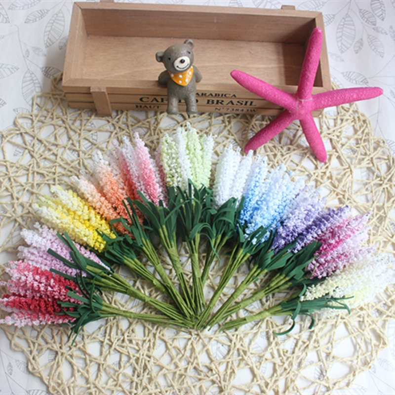 Novo mini 10 pcs DIY material Guirlanda de flores Artificiais PE lavanda decoração da flor do Casamento Da Noiva flor de pulso