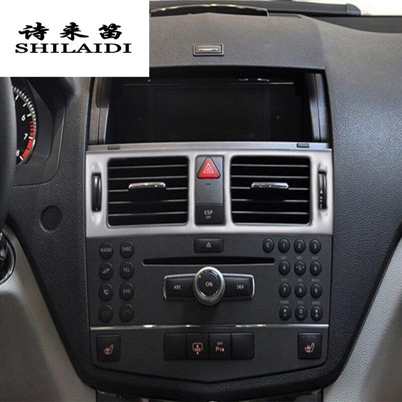 Estilo do carro Tomada AC ar Frontal Guarnição Quadro Autocolantes Decoração Capas Para Mercedes Benz C class W204 Interior Auto Acessórios