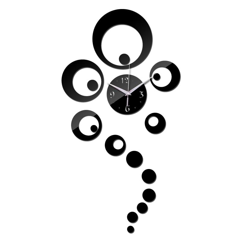 Nuevo llegada venta diy espejo material acrílico etiqueta de la pared decoración de pared Relojes de una sola cara de estilo moderno de pared de cuarzo Relojes