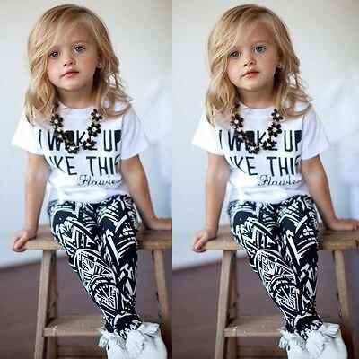 Комплект одежды для маленьких девочек, футболка в полоску с надписью «I Woke Up Like This» и штаны, комплект детской одежды из 2 предметов