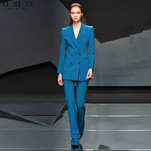 Chaqueta + Pantalones azul lago para mujer, trajes de negocios, Blazer, uniforme de oficina para mujer, pantalones formales de invierno para mujer con doble botonadura