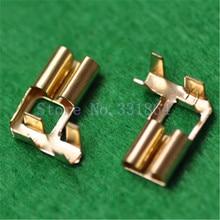 100pcs 6.3MM flag copper plug spring terminal terminal 90 degrees bending pressure line type rectangular crimp terminal