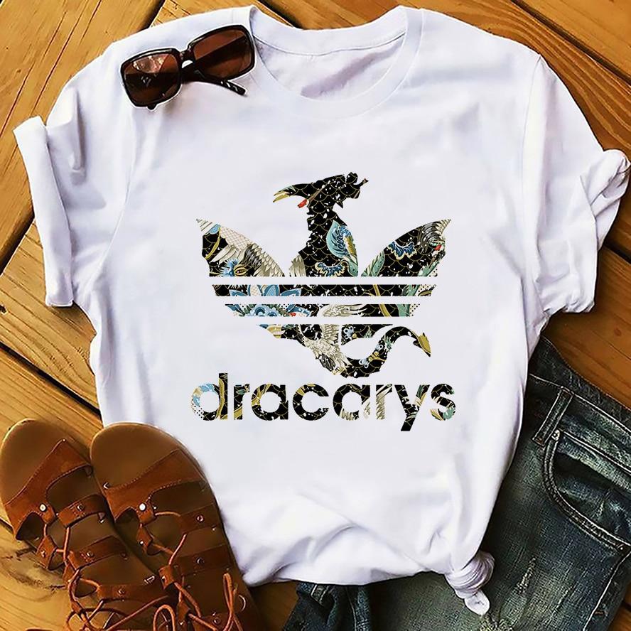 Camiseta GOT unisex, Blanco nuevo, casual homme, ropa de calle, camiseta Daenerys Dragon camiseta Dracarys, divertida camiseta con dibujo sin pegamento
