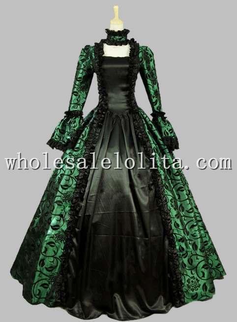 Vestido de época gótico victoriano georgiano vestido para baile de máscaras traje de Teatro Verde recreación