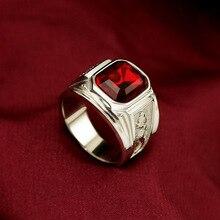 Bague homme Vintage chinois Dragon rubis 925 bague argent