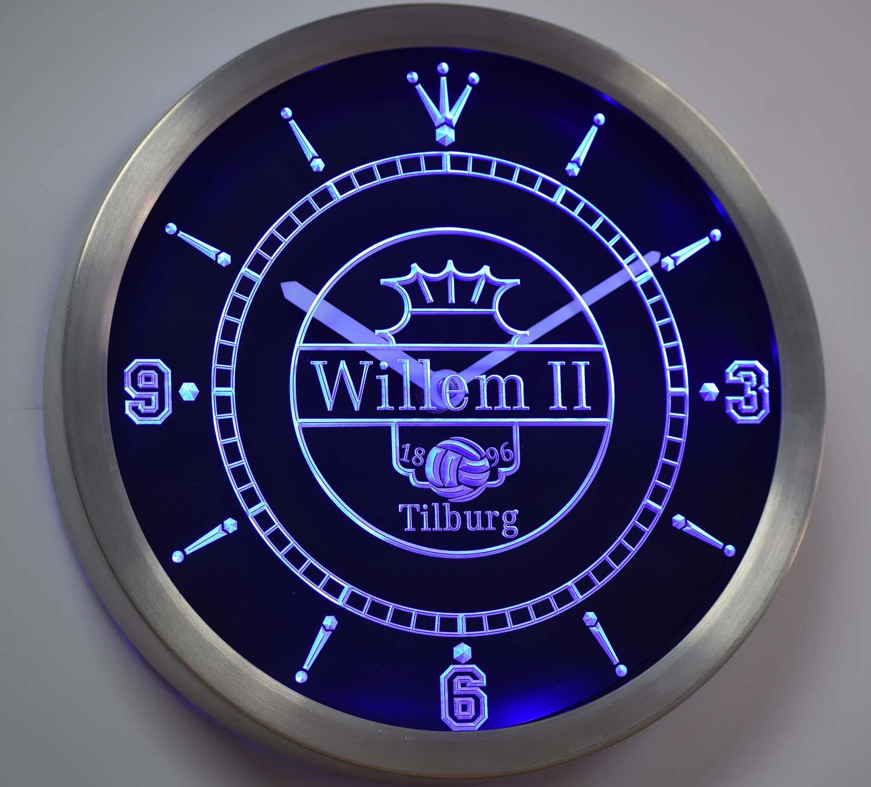 Nc1021 Willem II Tilburg Eredivisie, Fútbol letreros de neón Reloj de pared led