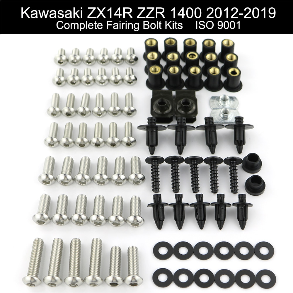 Para Kawasaki ZX14R ZZR 1400, 2012-2019 de la motocicleta completo kit de tornillos de carenado tuerca de velocidad que tornillos Clips de acero inoxidable