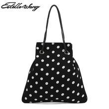 2018 New Estelle Wang Wave Point Bucket Chiffon Shoulder Bags Fashion Women Dot Drawstring Pouch Phone Bag Black White Handbag