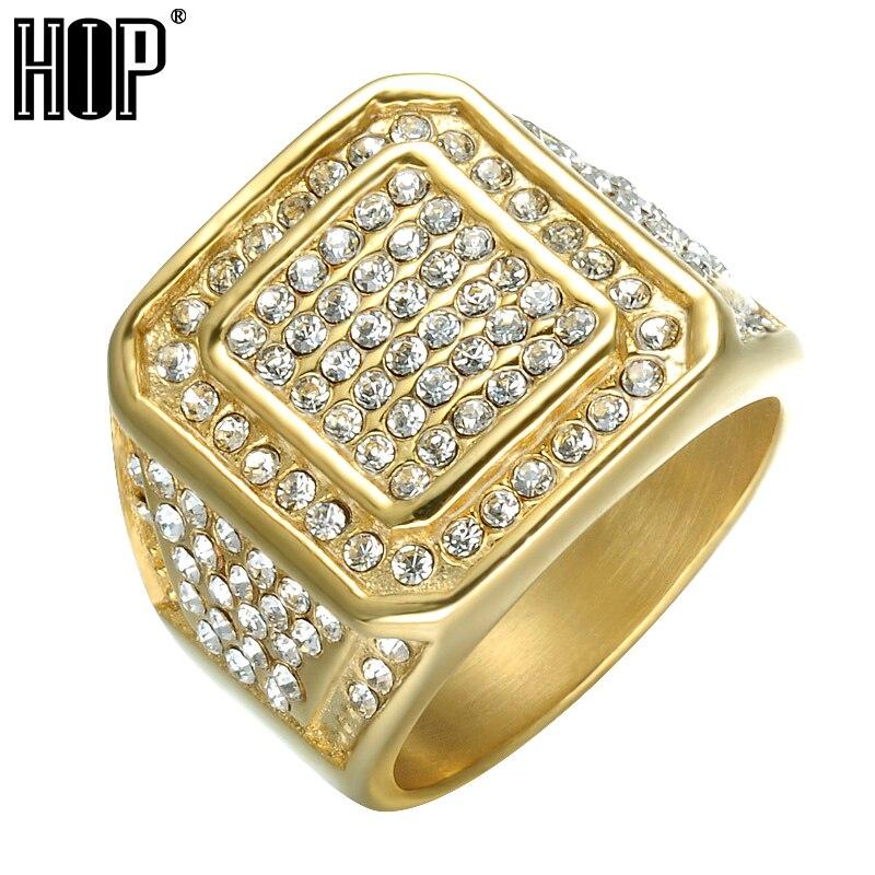 HIP Hop Bling Iced Out anillo de cristal cuadrado de Color dorado de acero inoxidable anillos de boda para hombres joyería US tamaño 8-13
