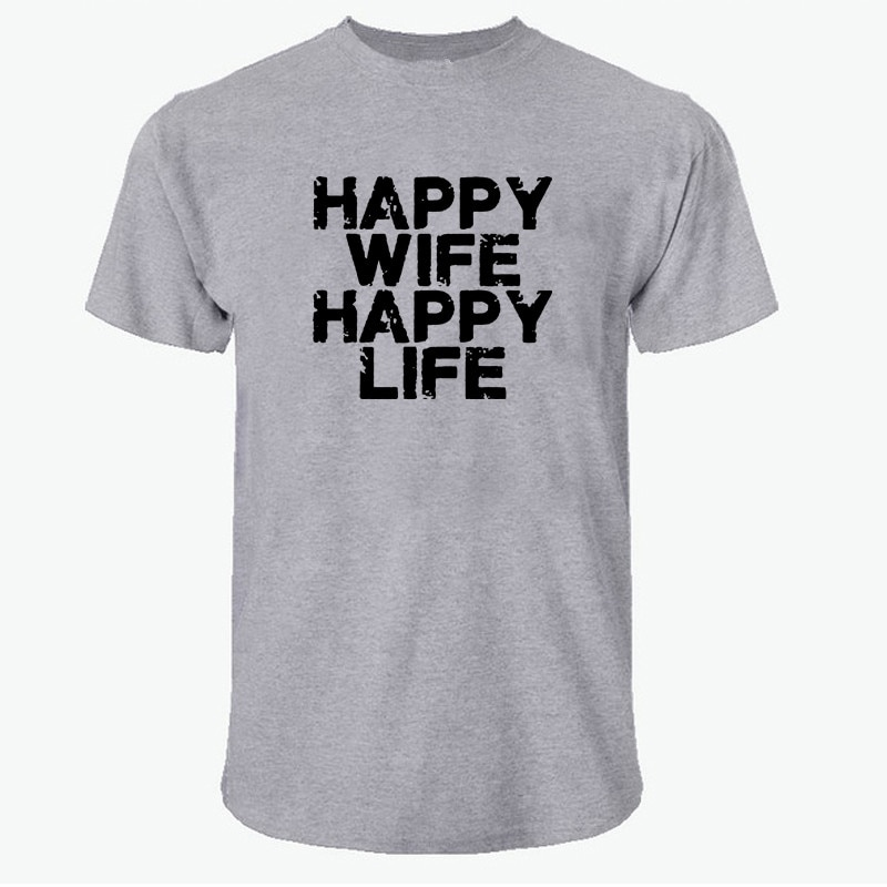 MT0046 feliz esposa feliz vida hombres camiseta divertida Unisex camisetas increíbles