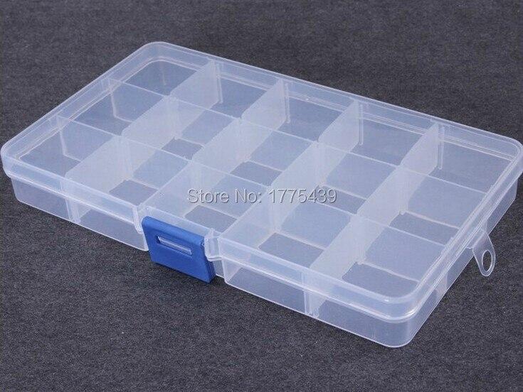 Kunststoff 15 Slots Schmuck (Einstellbar) Werkzeugkasten-kasten-fertigkeit-organisator-speicher-korne schmucksachen, die boxen