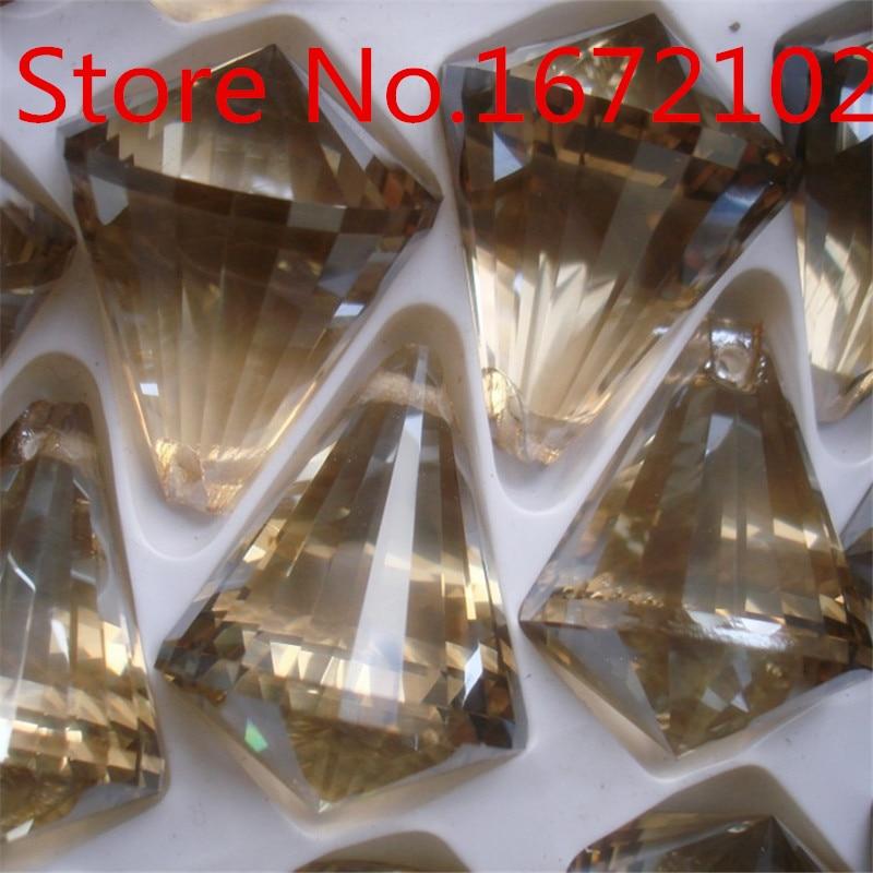 Las ventas de 48 unids/lote 40mm Color coñac diamante bolas candelabro de cristal bola de cristal Suncatcher prisma colgando bolas envío gratis