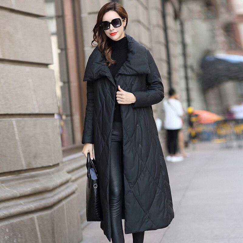 M-3XL معطف جلد الشتاء عادية كامل طويل جلد الغنم سترة الإناث الدافئة أبلى ضئيلة سترات سيدة القمم معاطف الموضة