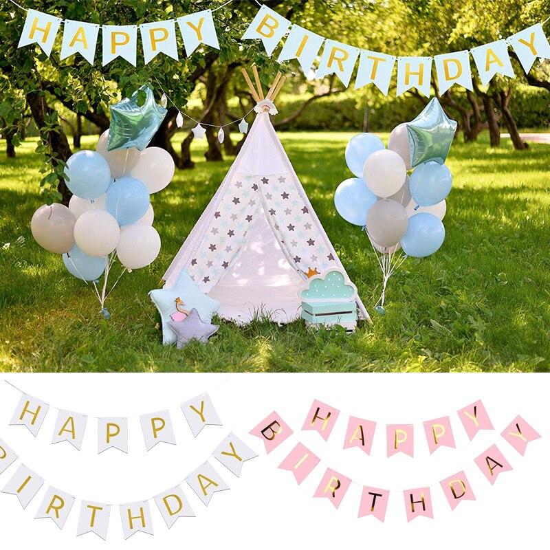 Feliz cumpleaños fiesta Banner colgante Garland chico bebé niña primera dulce 16 adulto 21 30 40 50 Decoración favor de regalo