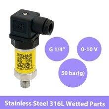 0 à 10V, capteur de pression oem piézorésistif 5 mpa, alimentation cc 12 30 volts, 0 50 bars, g1 4 fils + diaphragme en acier inoxydable 316L