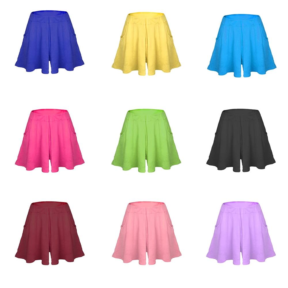 Nevettle High waist Pleated Wide leg Skirt Shorts Women Candy color Beach Loose Modal Cotton Casual Short Pants Feminino