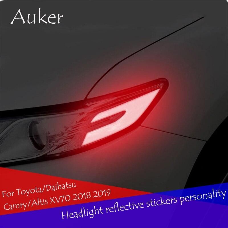 Pegatinas reflectantes para faros de coche con personalidad anti-advertencia de colisión 2 unids/set para Toyota/Daihatsu Camry/Altis XV70 2018 2019