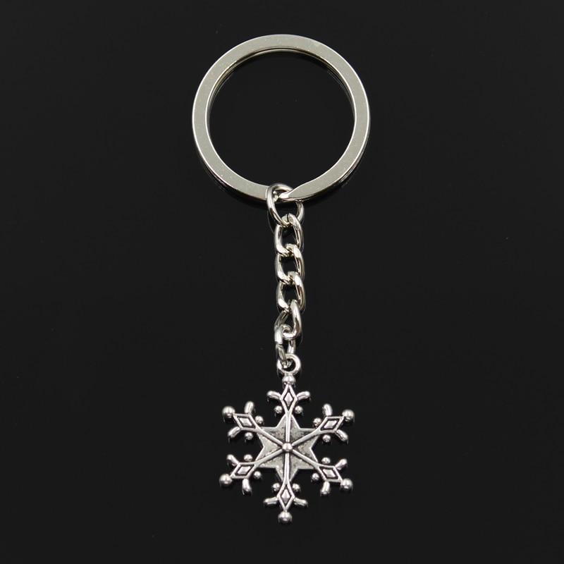 Fashion Snow Snowflake 28x22mm Pendant 30mm Key Ring Metal Chain Bronze Silver Color Men Car Holder Gift Souvenirs Keychain
