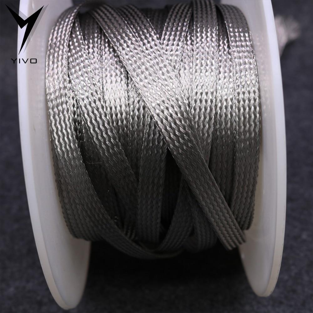 Hola-DIY HIFI revestimiento de latón estaño 2mm 4mm 5mm 6mm 8mm 10mm 12mm 16mm 18mm 20mm 25mm 30mm trenzado cable de manga tubo manguito