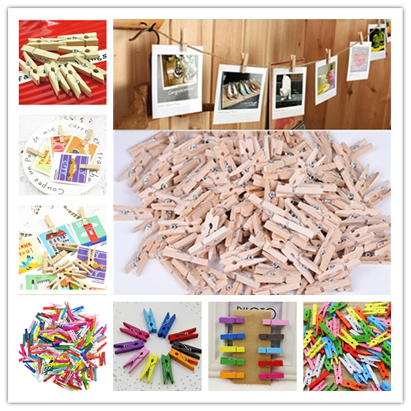 50-100 unids/pack gran oferta Mini pinza para ropa de madera Natural foto papel Peg pinza de ropa Clips artesanales escuela Oficina papelería