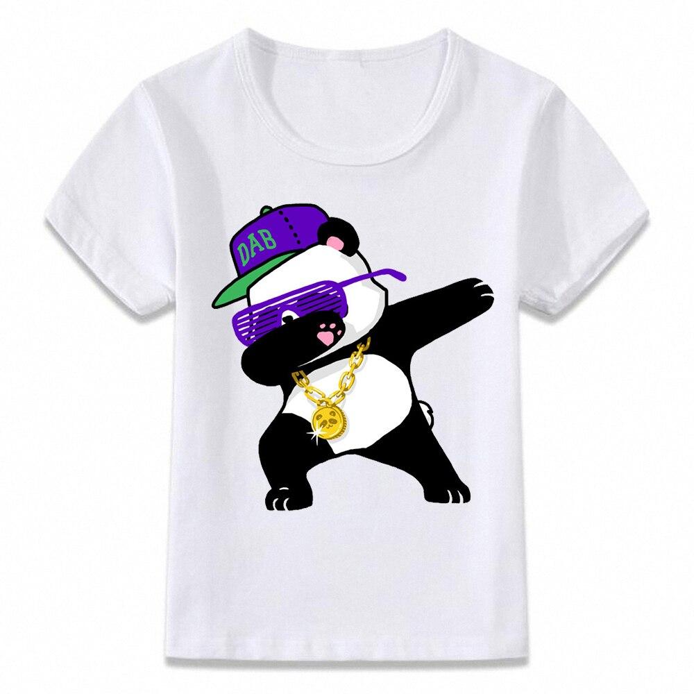 Camisa dos miúdos T oal128 Enxugando Panda Meninos e Meninas T-shirt T Da Criança